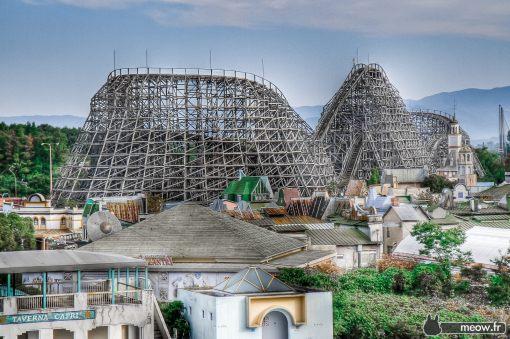 The huge wooden roller coaster Aska