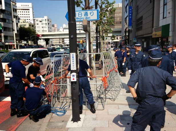 Police building the barricades