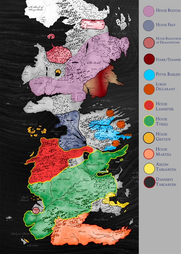 present political map of westeros after Book 5